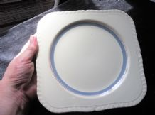 VINTAGE SQUARE CAKE PLATE ALFRED MEAKIN VAN DYCK WARE BLUE RED RINGS